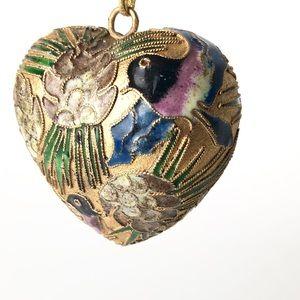 Vintage Cloisonne Christmas ornament heart birds